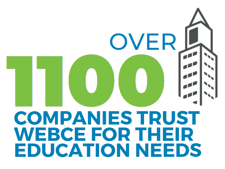 Over 1,100 companies trust WebCE for their corporate training and professional education needs
