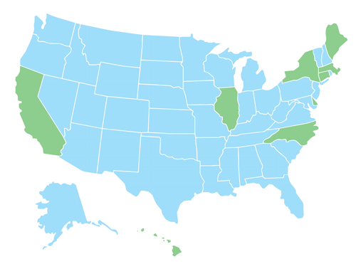 Map of the US with states highlighted that have Sexual Harassment Training Requirements