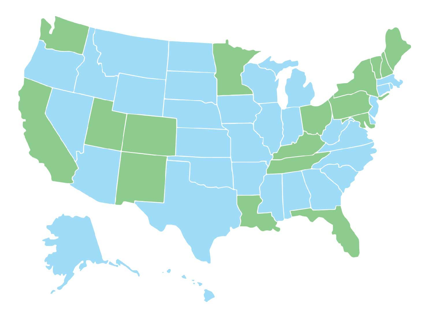 Map of states that require some form of anti-fraud fraud prevention training