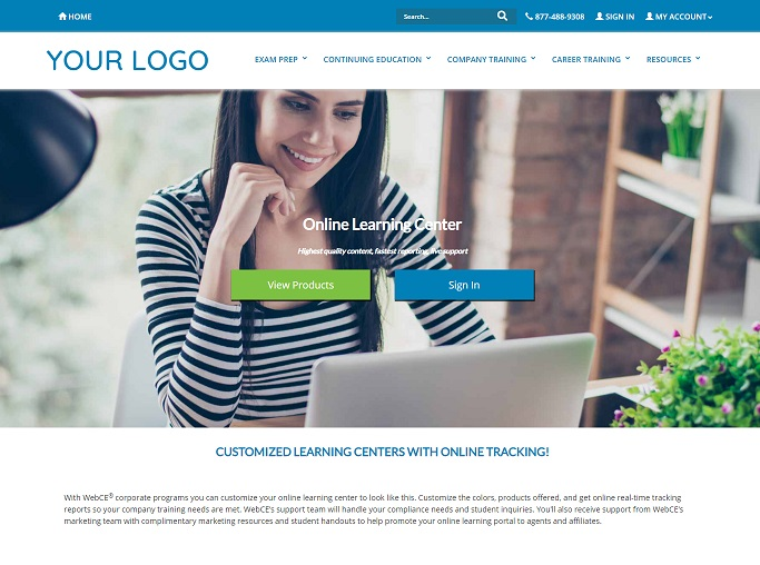 WebCE offers customized corporate training learning portals featuring your logo and branding