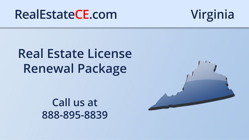 Virginia License Renewal DPOR Approved CE Classes real estate continuing education package course video image